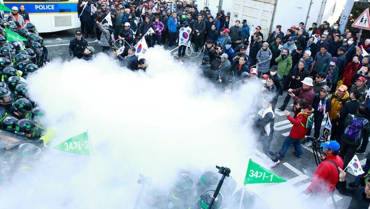 De politie zette traangas in tegen pro-Park-demonstranten voor het gebouw van het constitutioneel hof. Beeld epa
