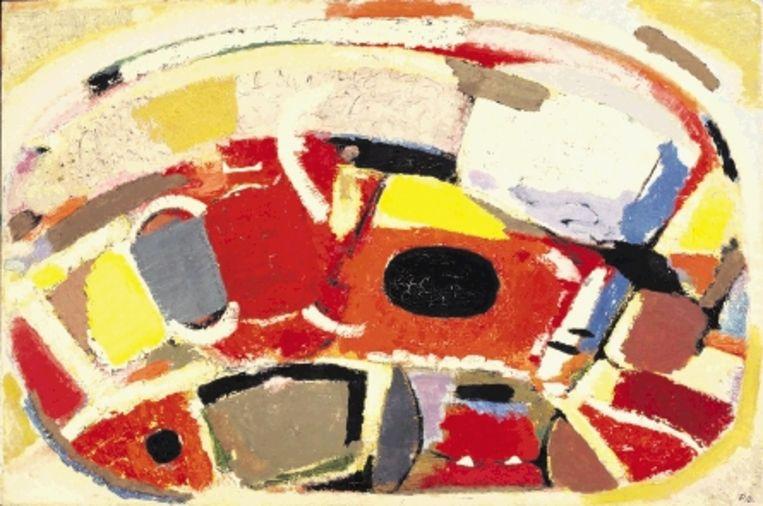 Piet Ouborg (1893-1956):'Luisterend in beweging', olieverf op doek, 1948. Coll. Cobra Museum. (Trouw) Beeld