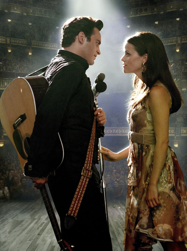 Joaquin Phoenix en Reese Witherspoon in 'Walk The Line'