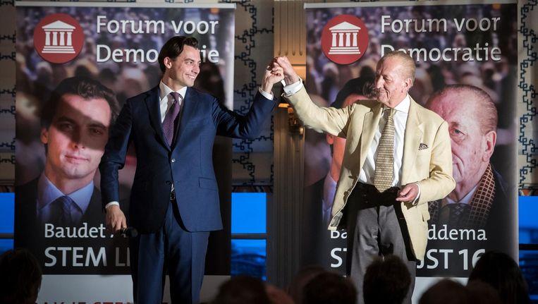 De Tweede Kamerleden van Forum voor Democratie (FVD) Thierry Baudet en Theo Hiddema brengen begin april een bezoek aan Volendam. Beeld anp
