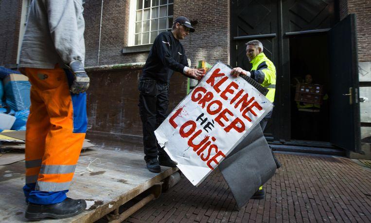 Een protestbord tegen Louise Gunning, april vorig jaar. Beeld anp