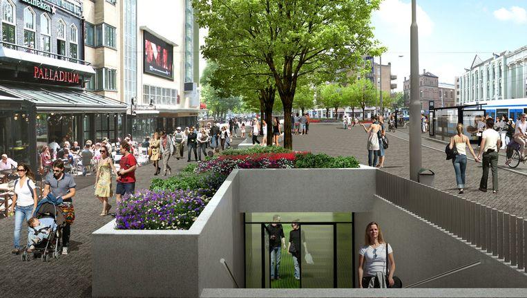 Impressie van het vernieuwde Leidseplein. Beeld Gemeente Amsterdam