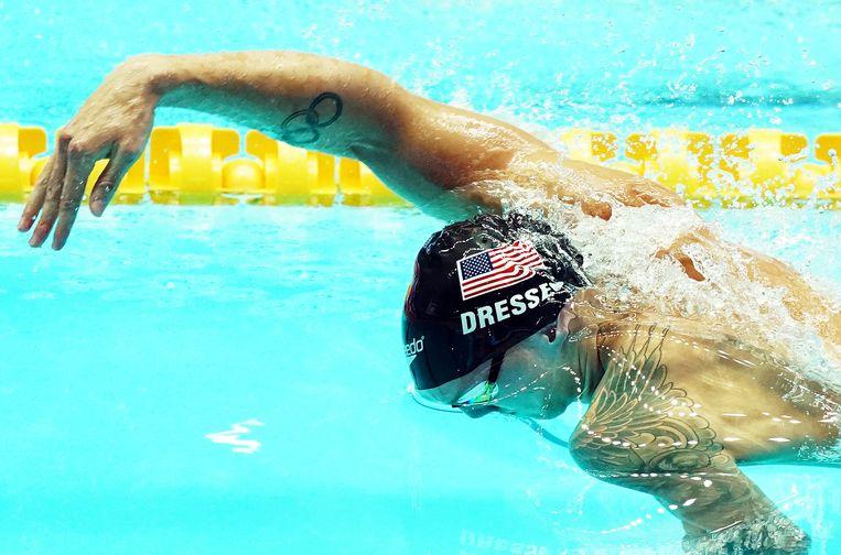 Caeleb Dressel op de 100 meter vrijeslag. Beeld EPA
