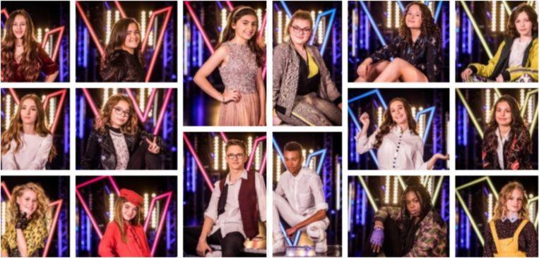De zestien halve finalisten van 'The Voice Kids'.