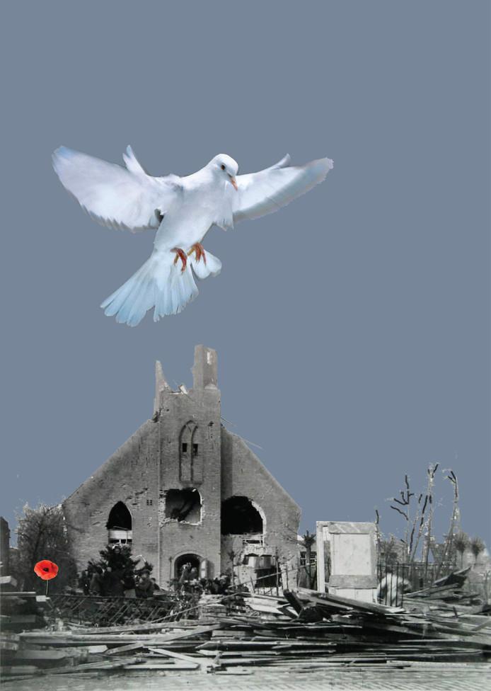 Affiche 75 jaar Slag om de Schelde: de verwoeste kerk in Breskens.