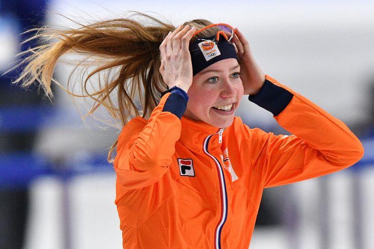 Esmee Visser na haar gouden race in Zuid-Korea, februari 2018. Beeld AFP
