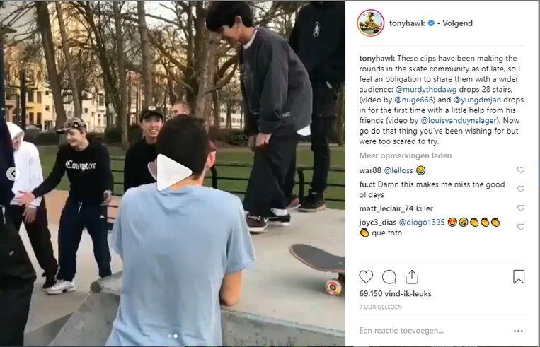 Onder andere de Amerikaanse professionele skateboarder Tony Hawk deelde de video op zijn Instagramprofiel.