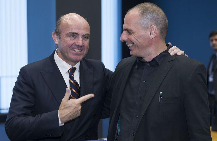 Varoufakis en de Spaanse economieminister De Guindos.