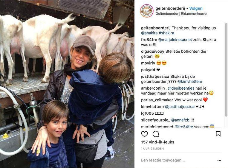 Shakira op bezoek bij de geitenboerderij Beeld Instagram