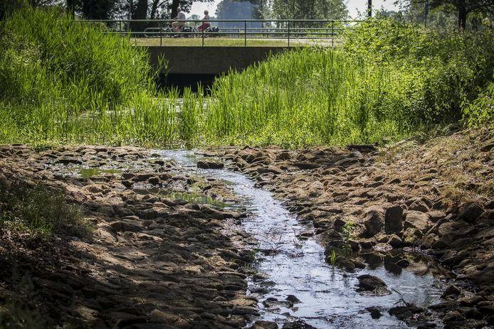 Foto ter illustratie: waterschappen in heel Nederland proberen het water in beekjes en sloten vast te houden. Vooral in hoger gelegen gebieden, waar ook geen water uit rivieren naartoe kan worden geleid, dunden de stroompjes eerder deze lente flink uit. De buien van de afgelopen weken bieden maar tijdelijk verlichting.