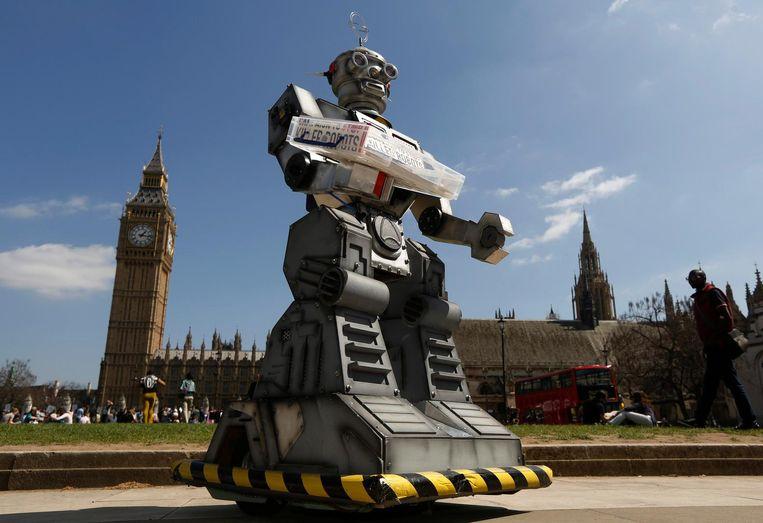 Beeld van een 'Stop Killer Robots'-campagne in Londen.