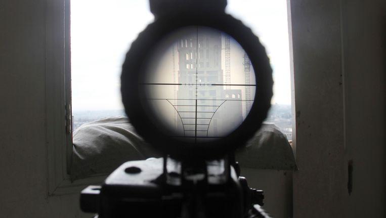 Syrische rebellen hebben een doelwit in het vizier.