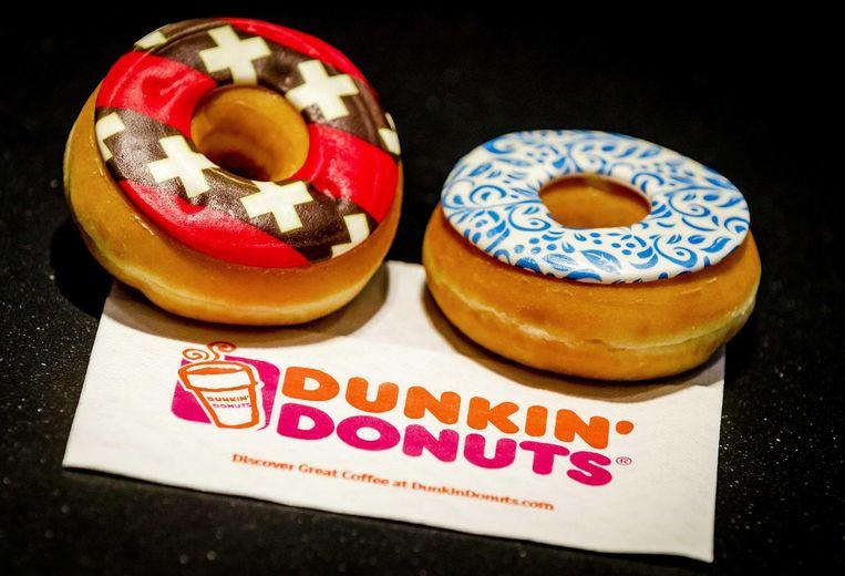 Amerikaanse fastfoodketen Dunkin' Donuts opende in maart het eerste Nederlandse filiaal in Amsterdam. Beeld epa
