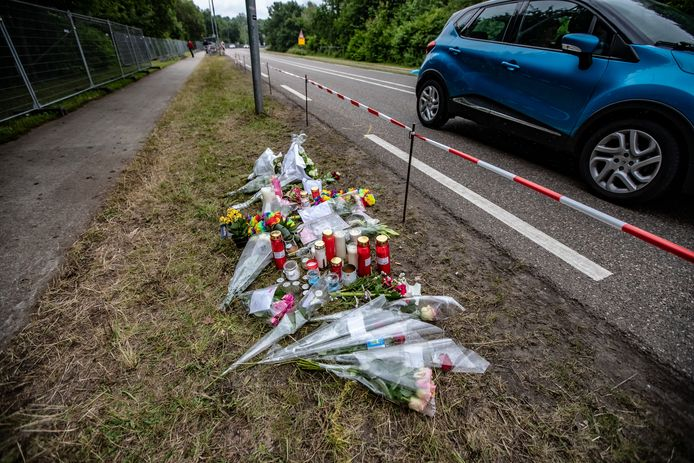 Bloemen en kaarsen in de berm van de Mensheggerweg waar de dodelijke aanrijding na Pinkpop plaatsvond.