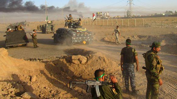 Iraakse soldaten bij de belegering van Fallujah.