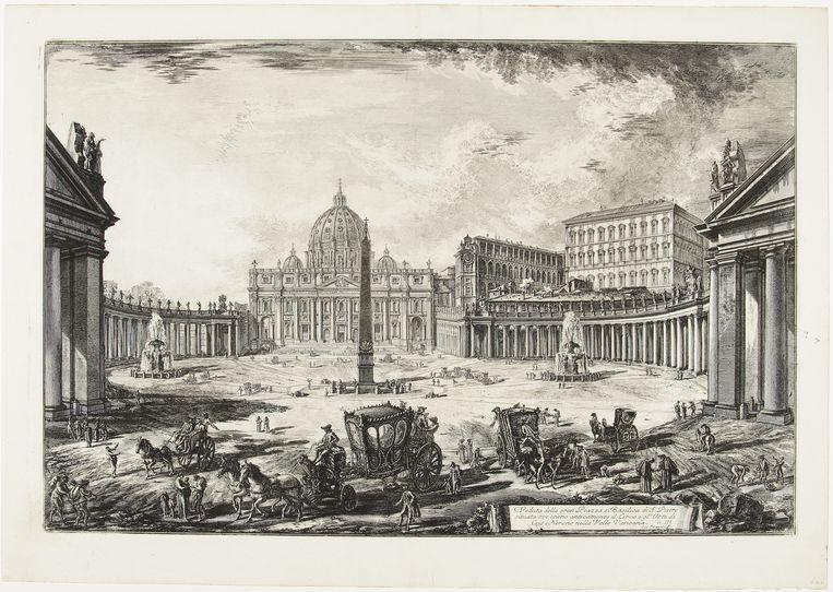Gezicht op het Sint-Pietersplein te Rome, 1772. Beeld Museum Boijmans Van Beuningen