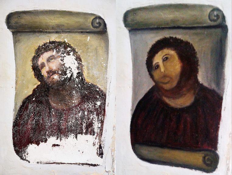 De Ecco Homo, voor (links) en na de restauratie. Beeld ap