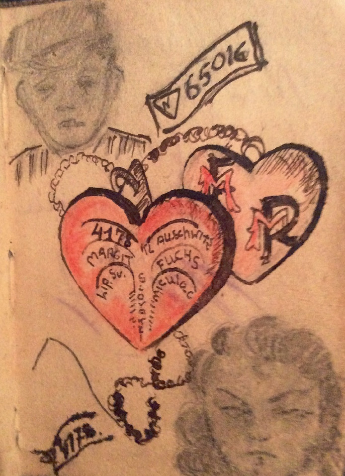 Tekening uit kampdagboekje 1945 van Max Moszkowicz en Margit Fuchsova.