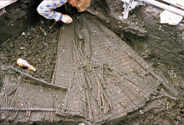 Opgraven van een prehistorische visfuik in Bergschenhoek. Beeld Rijksmuseum voor Oudheden.