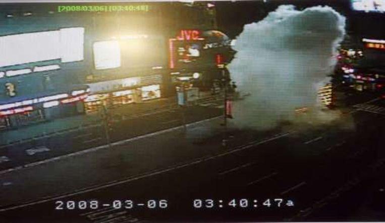 Een bewakingscamera filmde de explosie