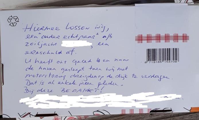 In de brief werden de redders nogmaals bedankt.