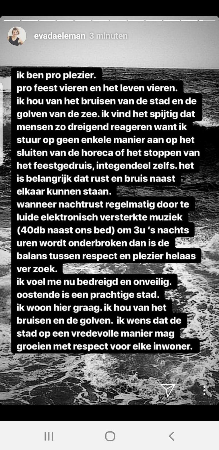 Eva Daeleman reageert op de commotie die is ontstaan over haar Instagram-post over nachtlawaai