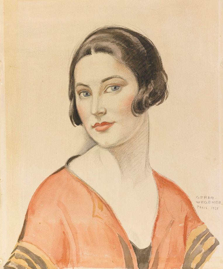 Portret van een meisje (1928) door Gerda Wegener Beeld Gerda Wegener