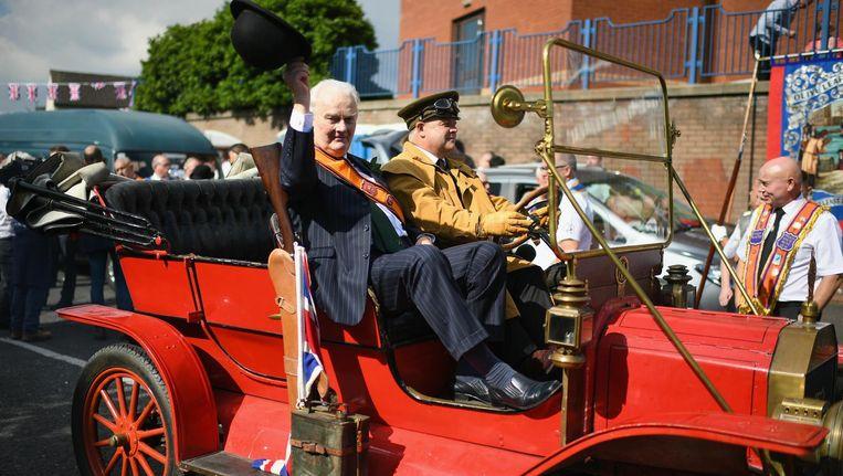 De parade van de Oranjemannen in Belfast. Beeld getty