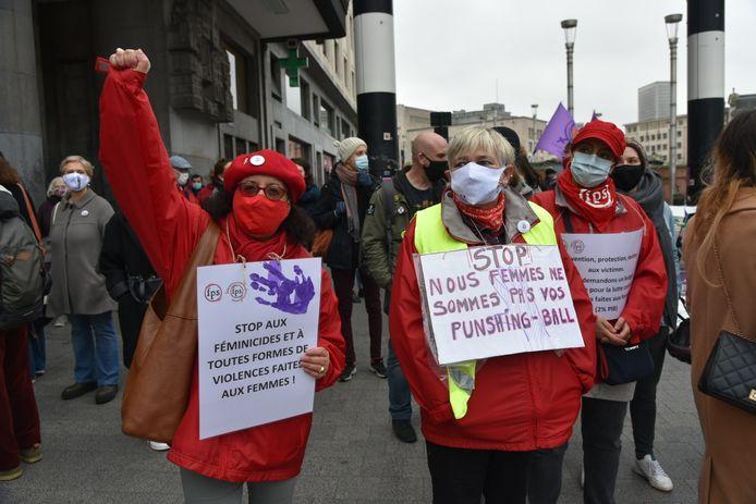 Een beeld van de betoging in Brussel afgelopen weekend.