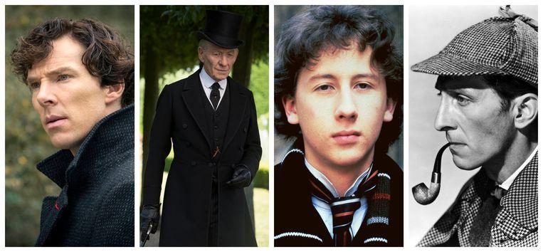 Benedict Cumberbatch, Ian McKellen, Nicholas Rowe en Peter Cushing als Sherlock Holmes