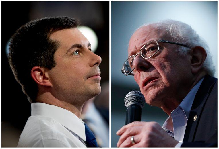 Pete Buttigieg (links) en Bernie Sanders (rechts).  Beeld AP