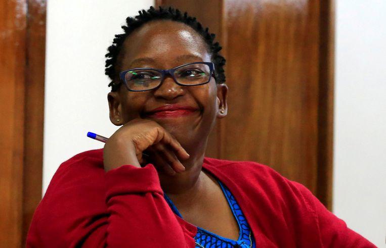 De Oegandese academicus Stella Nyanzi in de rechtbank tijdens de aanklacht in juni. Beeld REUTERS