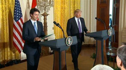 Trudeau geeft Trump foto bij eerste bezoek