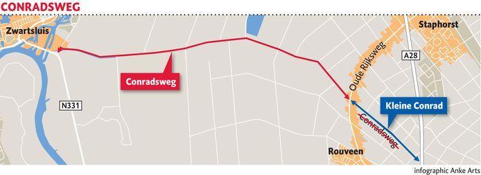 Op de Conradsweg tussen Rouveen en Zwartsluis gaat een maximum snelheid gelden van 60 kilometer.