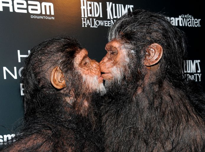 Model and television personality Heidi Klum, left, and husband Seal attend Heidi Klum's annual Halloween party at the Dream Hotel on Monday, Oct. 31, 2011 in New York. (AP Photo/Evan Agostini)