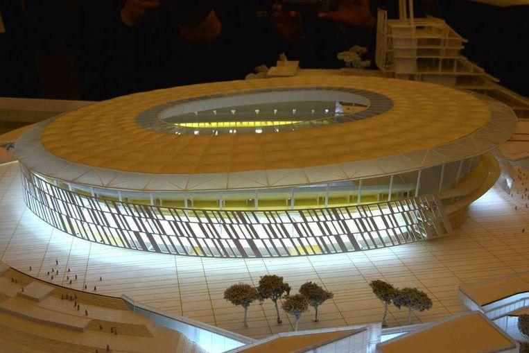 Artist impression van het nieuwe stadion van AS Roma, ontworpen door architect Dan Meis. Beeld afp