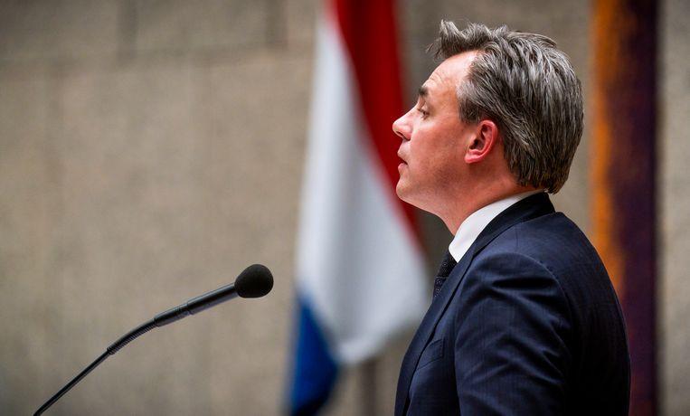 Staatssecretaris Mark Harbers van Justitie en Veiligheid (VVD) tijdens het debat over het kinderpardon in de Tweede Kamer.  Beeld Freek van den Bergh