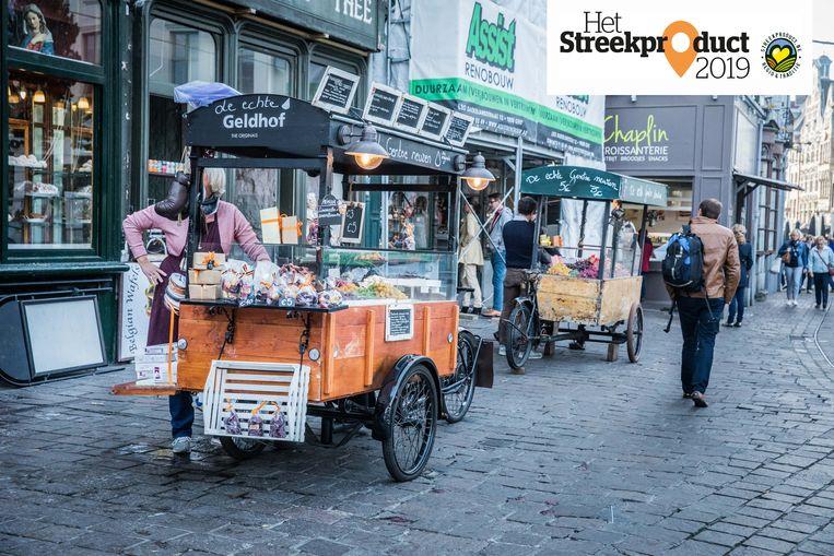 De neuzen van Geldhof zijn onder andere te koop op de Groentenmarkt in Gent.