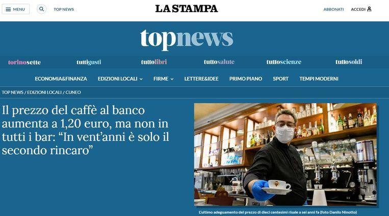 'Dit is slechts de tweede stijging in twintig jaar tijd', verantwoordde een koffiebarhouder in Turijn zijn nieuwe prijs. Beeld