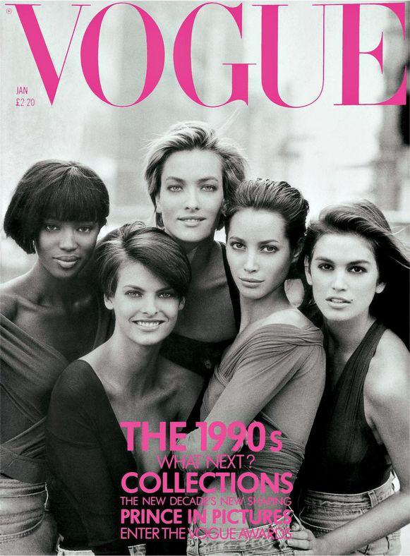 Cover Vogue - Naomi Campbell, Linda Evangelista, Tatjana Patitz, Christy Turlington en Cindy Crawford in de straten van Manhattan in 1990. © Peter Lindbergh