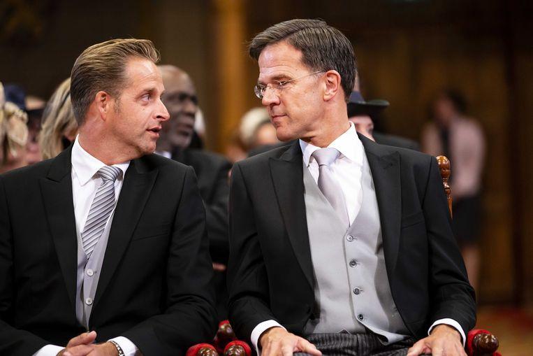 Mark Rutte en minister Hugo de Jonge op Prinsjesdag in de Ridderzaal voorafgaand aan de troonrede van koning Willem-Alexander.  Beeld ANP