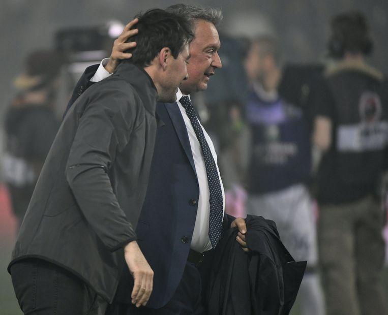 Ook manager Herman Van Holsbeeck blij met zijn Zwitserse coach.