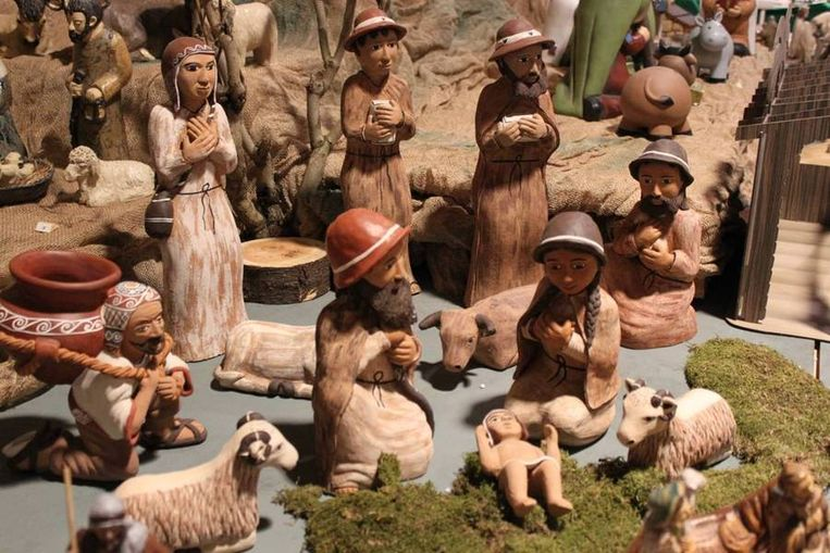 Een van de kerststallen die te zien zijn bij de tentoonstelling. Beeld Hans Bartels