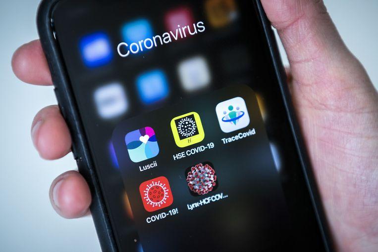 Een aantal corona-apps op een telefoon, waaronder de app Luscii, ontwikkeld door het Amsterdamse ziekenhuis OLVG. Door middel van de app kan de gebruiker zijn gezondheid checken bij het vermoeden van besmetting met het coronavirus.  Beeld ANP
