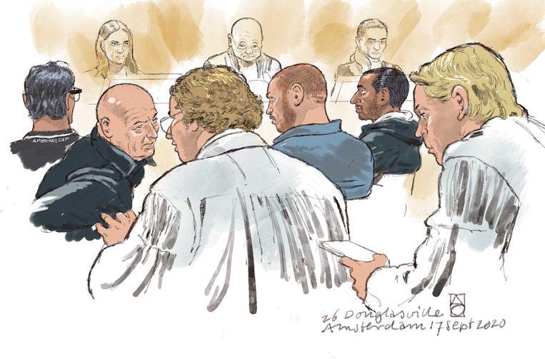 Rechtbanktekening van Willem-Jan H., Dennis van D., Robin van O. en Michael B. tijdens een inleidende zitting.  Beeld ANP