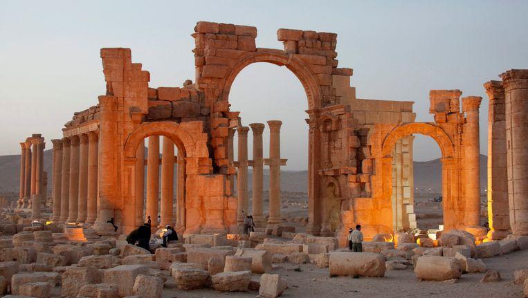 Een ruïne in de historische stad Palmyra. Beeld epa
