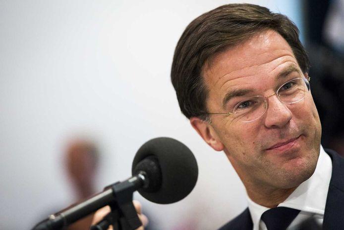 Premier Mark Rutte tijdens het Libelle Nieuwscafe Live in perscentrum Nieuwspoort.