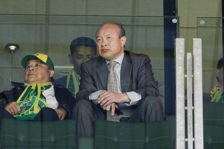 De Chinese eigenaar Hui Wang van ADO Den Haag op de tribune tijdens de eredivisiewedstrijd tussen ADO Den Haag en FC Utrecht in 2015. Beeld anp