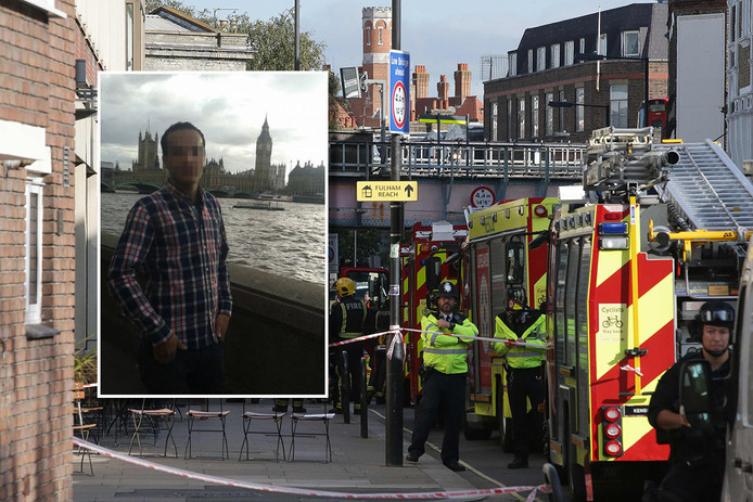 Archiefbeeld: hulpdiensten zijn na de aanslag aan het werk bij metrostation Parsons Green. Inzet: Yahyah F.