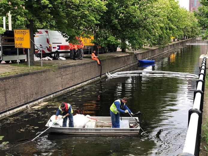 Op het water van de Prinsessegracht en de Koningskade in Den Haag ligt een laag olie.